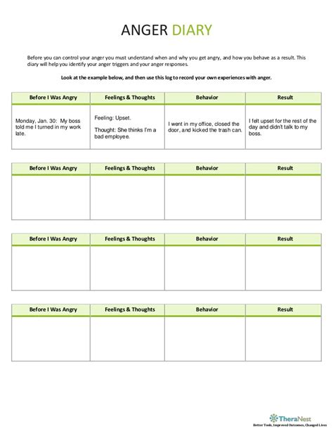anger diary worksheet theranest com