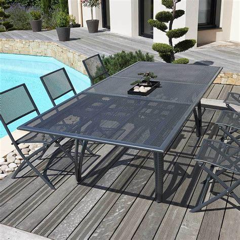 table de jardin avec rallonge table alu perfor 233 avec rallonge anthracite tperf47 achat vente table de jardin sur maginea