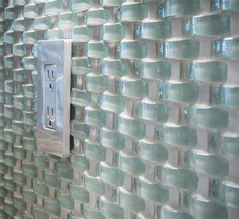 modern outlet covers wavy glass mosaic backsplash transitional kitchen