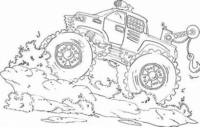 Coloring Monster Truck Pages Digger Printable Drawing