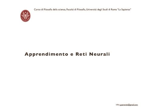 dispense di filosofia reti neurali dispense