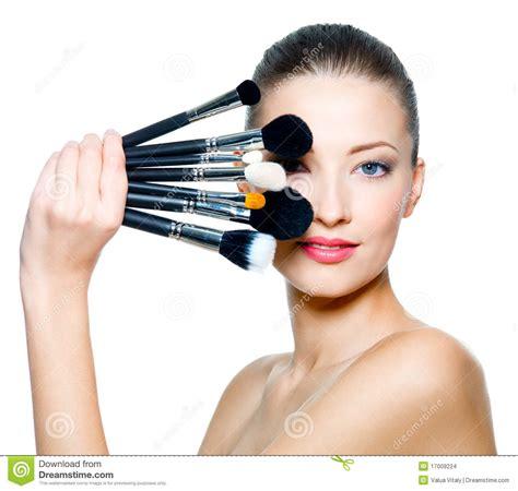 portrait  beautiful woman    brushes stock