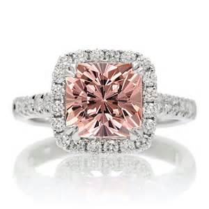 halo cut engagement rings 1 5 carat cushion cut morganite halo engagement ring for on 9ct white gold jeenjewels