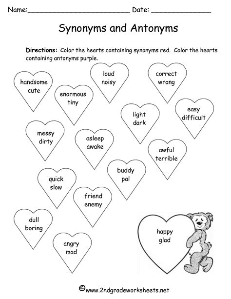 free synonyms worksheets for graders antonym