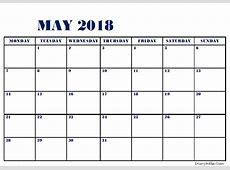 Printable May 2018 Calendar Fillable