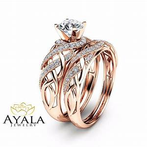 diamond bridal set in 14k rose gold unique engagement With unique wedding sets rings