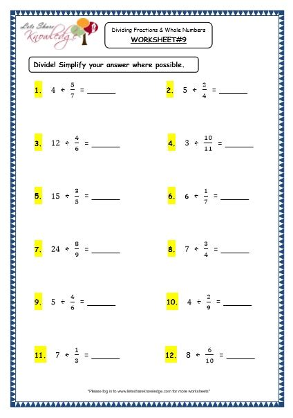 dividing fractions with whole numbers worksheet resultinfos