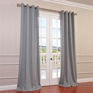 Heather grey faux linen grommet semi sheer curtain for Grommet curtains with sheers