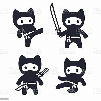Ninja Cat Cartoon Vector Japanese Animal Simple