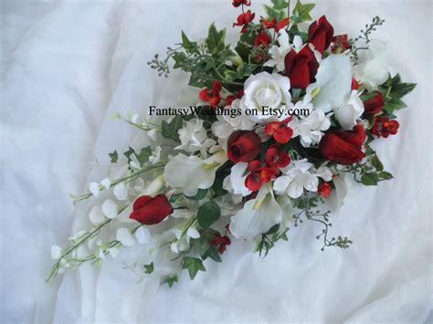 Valentine's Day Cascade Bridal Bouquet. Red Rose White