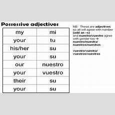 Spanish Possessive Adjectives  Spanish Pronombres