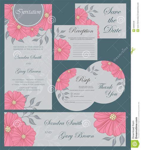 wedding invitation cards set stock vector illustration