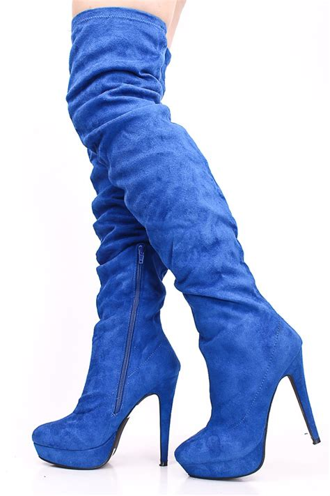 royal blue faux suede   knee thigh high bootswomen