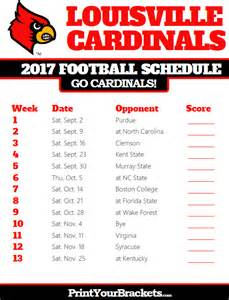 Printable Arizona Cardinals Football Schedule 2017