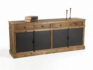 Buffet Metal Et Bois : buffet bas en bois avec tiroirs et portes en m tal ~ Melissatoandfro.com Idées de Décoration
