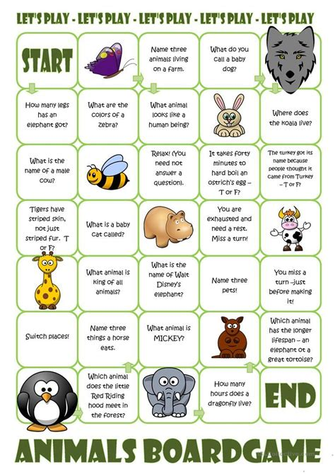 animals board game  images speaking games board