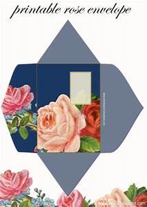 Free Printable Vintage Rose Envelope - Ausdruckbarer Briefumschlag