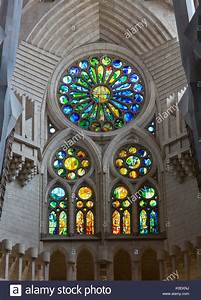 Stained glass windows in the Basilica de la Sagrada ...