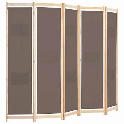 Panel Folding Screen Fabric Divider Brown Vidaxl