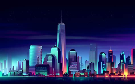 Wallpaper New York City, Neon, Night, Hd, Creative