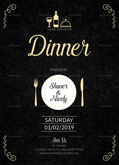 Dinner Invitation Card Design Template in Word PSD Publisher