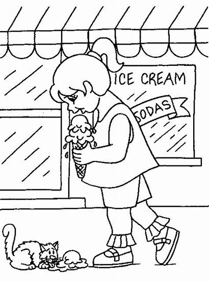 Ice Cream Eating Coloring Pages Drawing Sharing