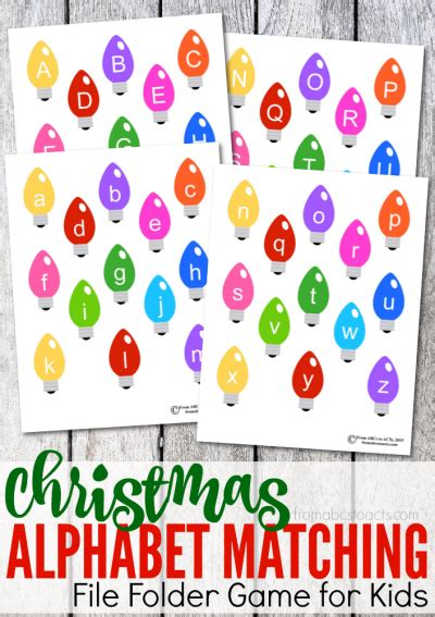 printable christmas alphabet matching file folder game