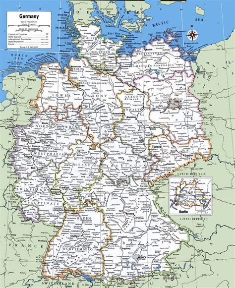 large detailed political  administrative map  germany
