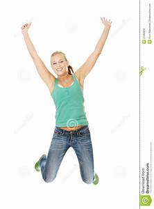 Jumping Happy Teen Girl Stock Photo - Image: 21262840