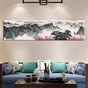 Large, Wall, Art, Canvas, Prints, Chinese, Mountain, And, River, Painting, Picture, Hall, Living, Room, Decor