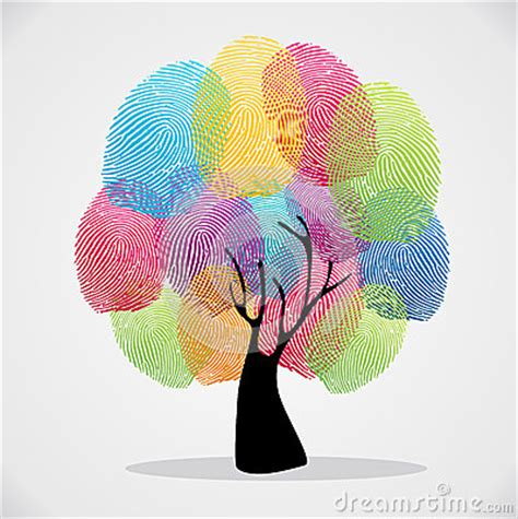 finger prints diversity tree royalty  stock