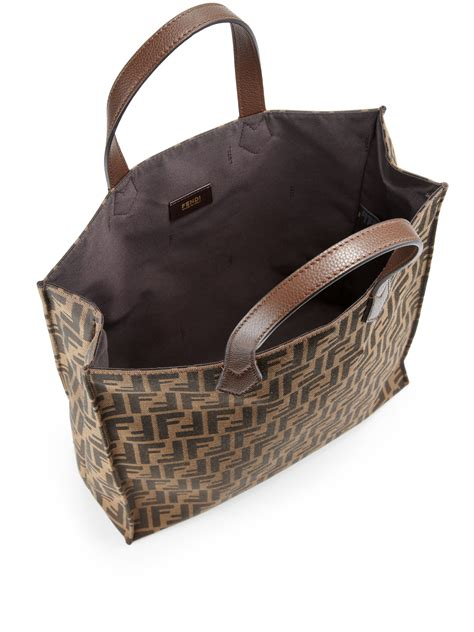 fendi signature monogram shopping bag  brown lyst