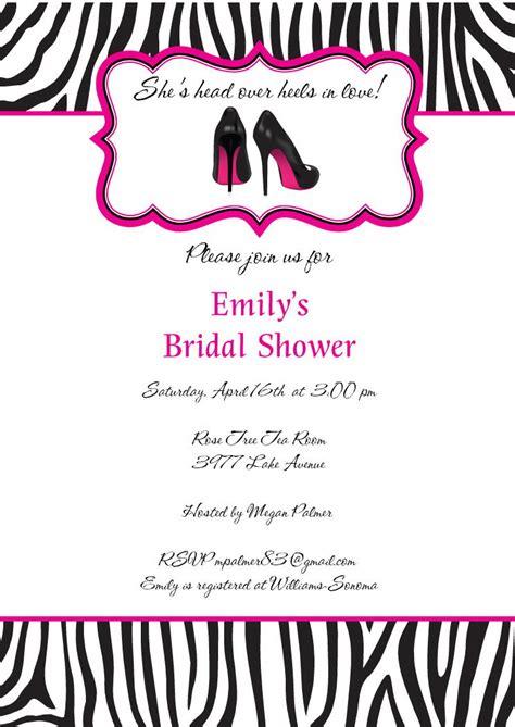 zebra bridal shower invitations digital file diy printable