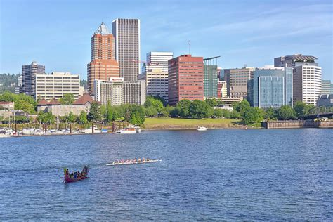 Boats Portland Oregon by Portland Oregon Skyline And Rowing Boats Photograph By