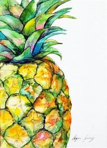 Pineapple Original Watercolor Painting Ooak Food Art Modern