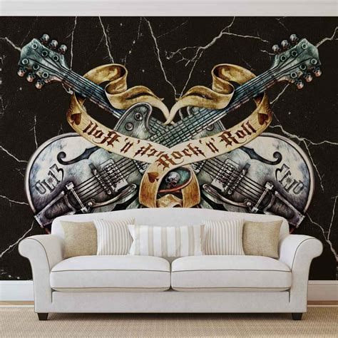 Wall Murals Rock And Roll by Guitar Rock Roll Heavy Metal Wall Mural Photo Wallpaper