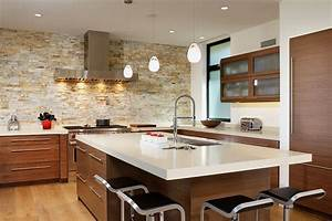 Inventive kitchens with stone walls
