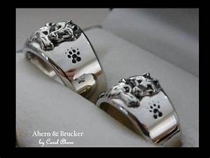 ahern brucker 18k limited edition wolf wedding sets With wolf wedding rings