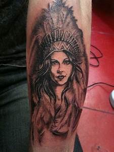 head dress squaw indian girl pinup feathers   Tattoo ...