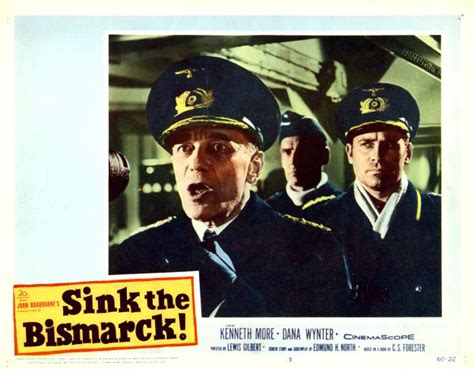 Sink The Bismarck by Sink The Bismarck Lobby Card Starring Kenneth More And
