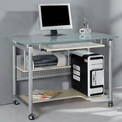 rolling computer desk glass and silver colored metal