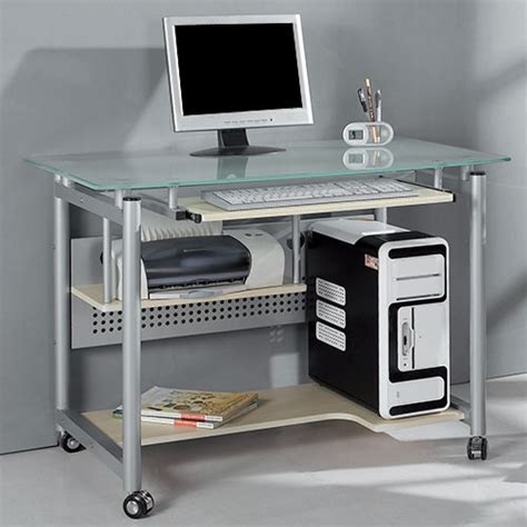 Glass Computer Desk At Walmart by Rolling Computer Desk Glass And Silver Colored Metal