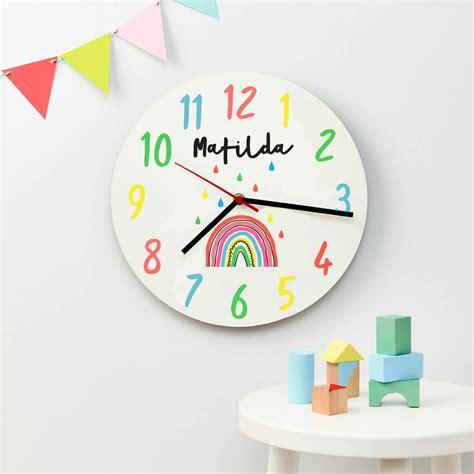 childrens personalised modern rainbow wall clock