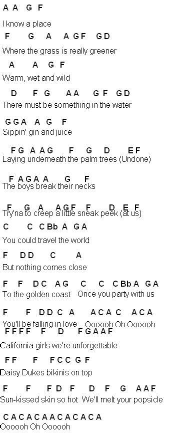 flute sheet california gurls