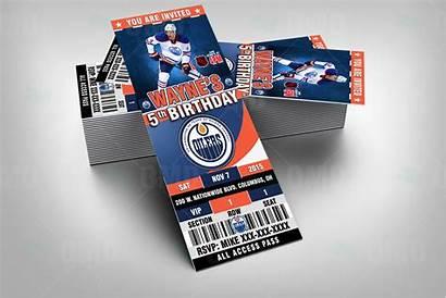Oilers Edmonton Sports Invitations Party Invite Tickets