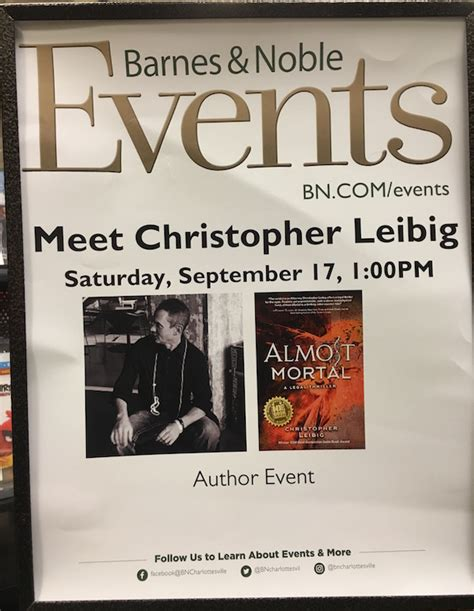 barnes and noble charlottesville on the book signing trail with chris christopher leibig
