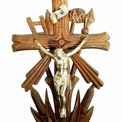 Antique German Passion Tools Standing Crucifix Catholic