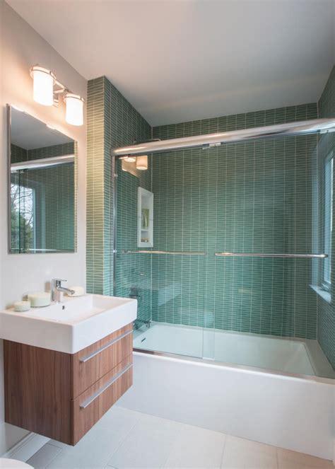 contemporary guest bath  green wavy tile shower