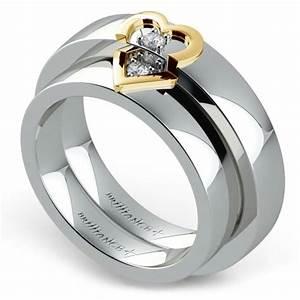 Matching split heart diamond wedding ring set in white and for Matching white gold wedding rings