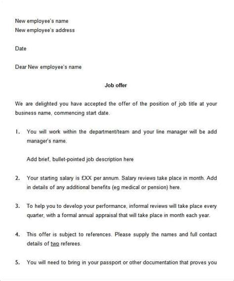 job offer letter template fee schedule template
